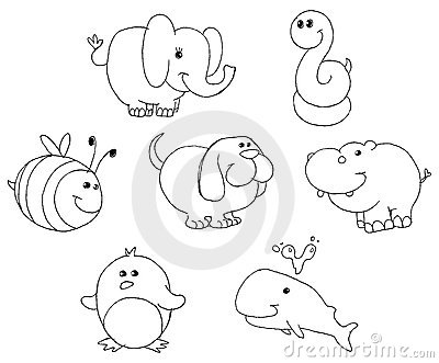 Outlined animal doodles