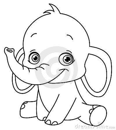 Free Outlined Baby Elephant Stock Image - 20589921