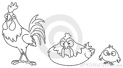 Outlined chicken family