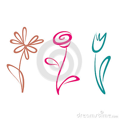 Outlined flower collection