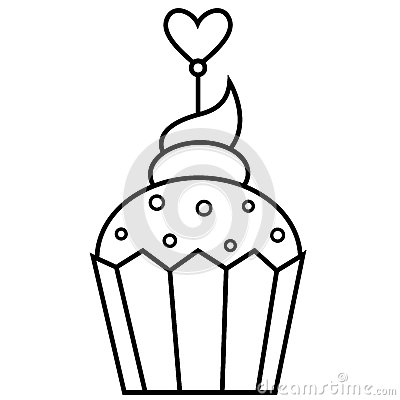 Outlined illustration of cupcake