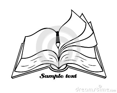 Outlined isolated book with pencil