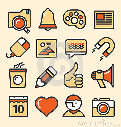Outlined media icons set