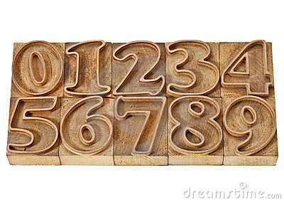 Outlined numbers in wood type