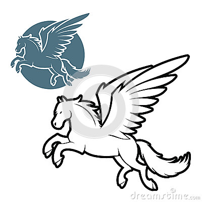 Outlined pegasus