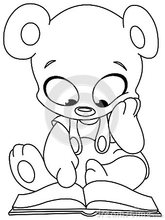 Outlined teddy bear reading book Vector Illustration