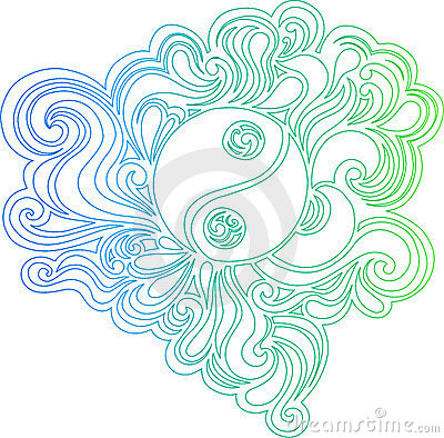 Outlined Yin Yang Vector Illustration