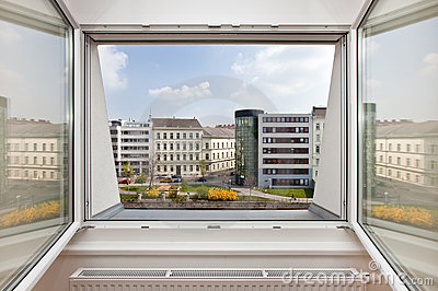 Outlook from an apartment window on urban setting