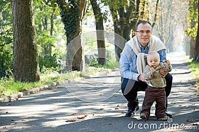 Outono exterior do parque do filho do pai