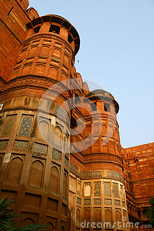 Outside Architecture of the Red Fort Agra, India