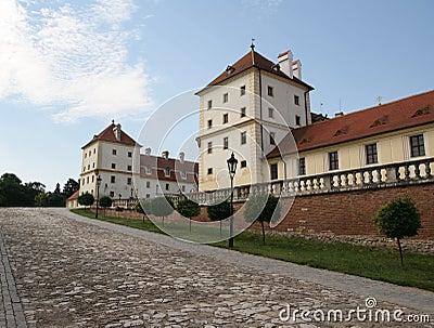 Outside castle building