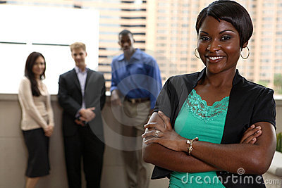 Outside team with black woman