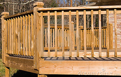 Outside of a wood deck