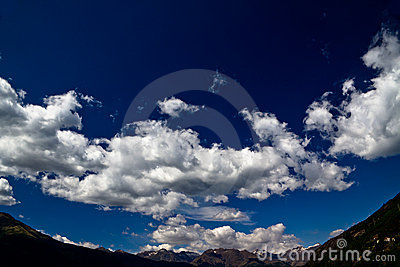 Outstanding blue sky over the alps