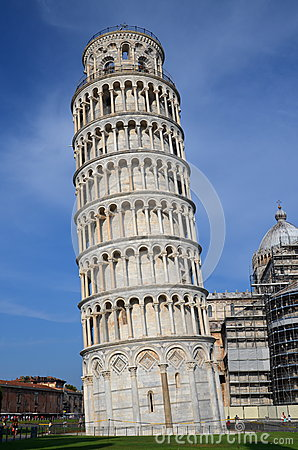 The outstanding view of the Leaning Tower on Square of Miracles in Pisa, Italy