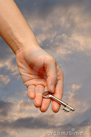 Free Outstretched Hand Holding Key Stock Image - 2437151