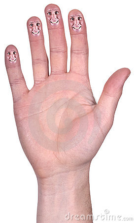 Ouvrez le sourire drôle de main, doigts de sourire, d isolement