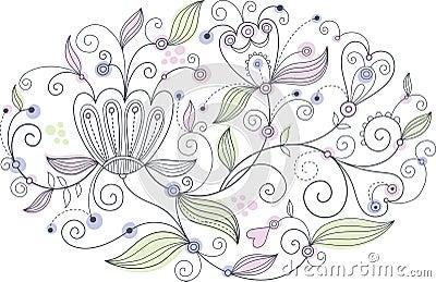 Oval floral pattern