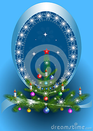 Oval frame with the Christmas tree on blue background