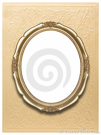 Oval frame on golden wallpaper