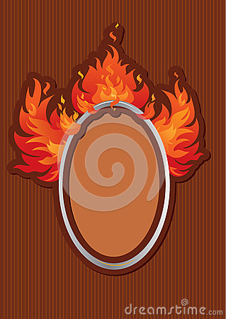 Oval frame with spurts of flame