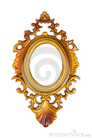 Oval golden picture frame isolated on white