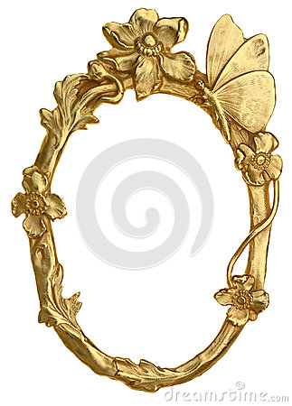 Free Oval Picture Frame With Butterfly Stock Photography - 51953312