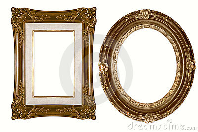 Oval and Rectangular Decorative Golden Frames