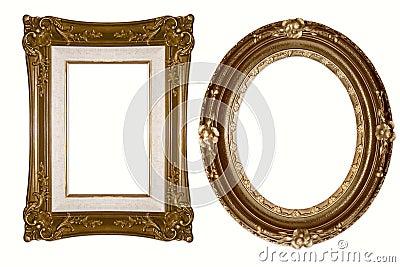 Oval and Rectangular Decorative Golden Frames
