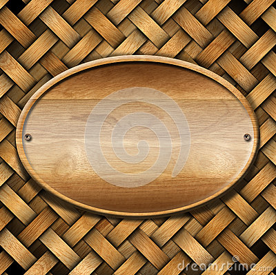 Oval Wood Board on Braided Wooden Background