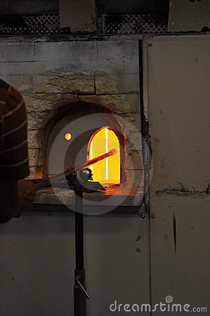 Oven in a glass making factory