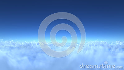 Over clouds, 3d render