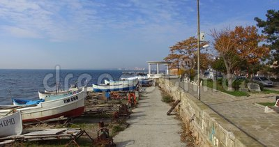 Over the Parking of fishing boats in old Pomorie in Bulgaria stock video footage
