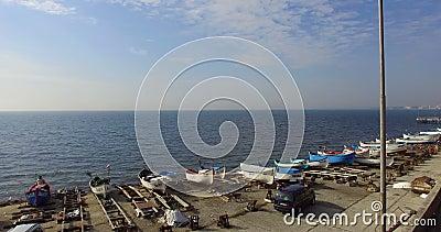 Over the spring Pomorian bay in Bulgaria stock video