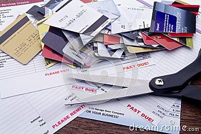 Overdue Bills, Scissors, & Cut Up Credit Cards