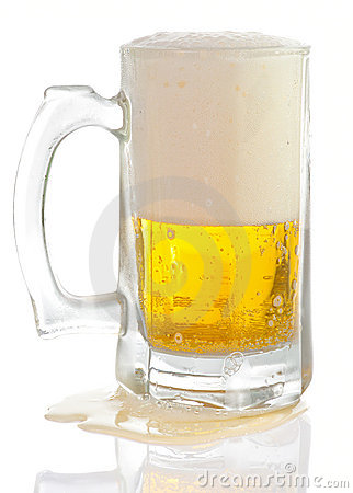 Overfilled beer mug