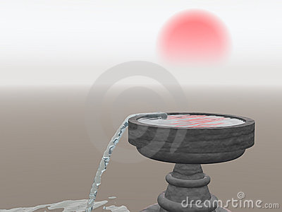 Overflowing Fountain with Rising Sun