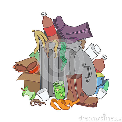Free Overflowing Trash Recycle Bin. Waste Have Been Disposed Improper Stock Image - 69655841