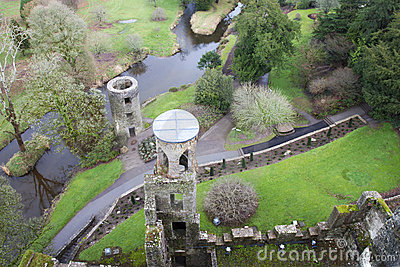 Overhead aerial view of Blarney castle,Ireland.