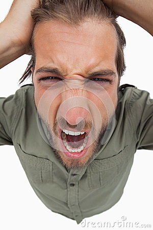 Overhead angle of shouting man