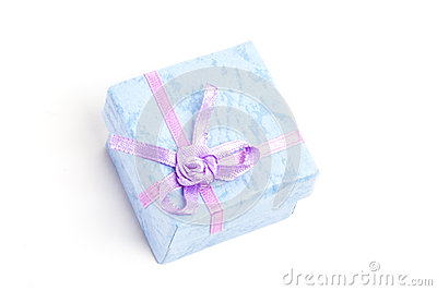 Overhead of blue gift box with purple ribbon