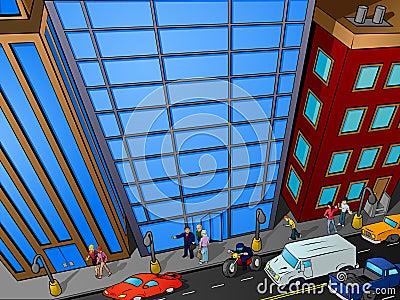 Overhead city street scene