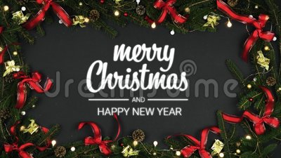 overhead decoration frame on dark gray merry christmas happy new year message with pine conesred gold ribbonsblinking stock video video of present