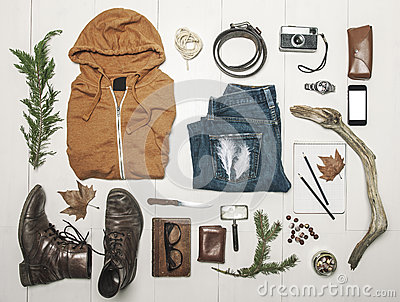 Overhead of essentials adventurer man.