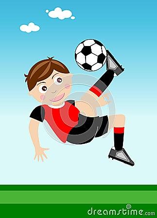 Happy Kid Performing Overhead kick
