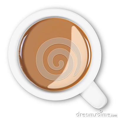 Overhead mug of coffee isolated clipping path.