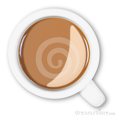 Free Overhead Mug Of Coffee Isolated Clipping Path. Stock Image - 24453261