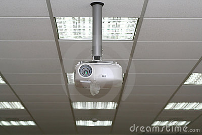 Overhead projector under the ceiling in boardroom