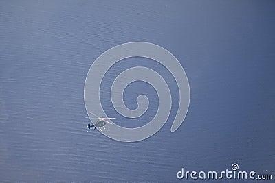 Overhead shot of flying helicopter