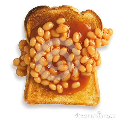 Overhead view of beans on toast isolated path